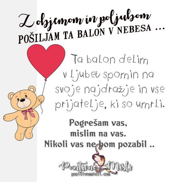 Pošiljam balon  🎈v nebesa