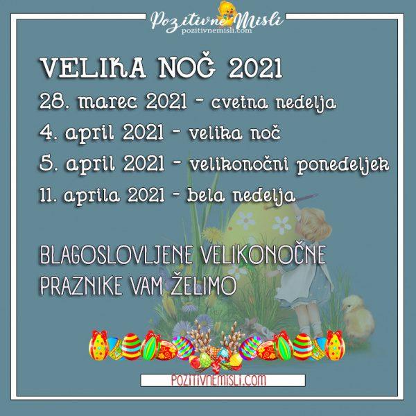 Velika noč 2021  - koledar datumov