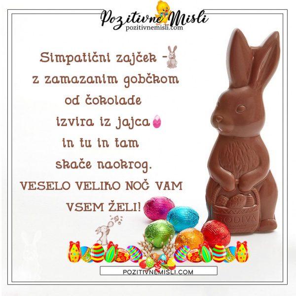 Velika noč - Simpatični zajček -  z zamazanim gobčkom od čokolade