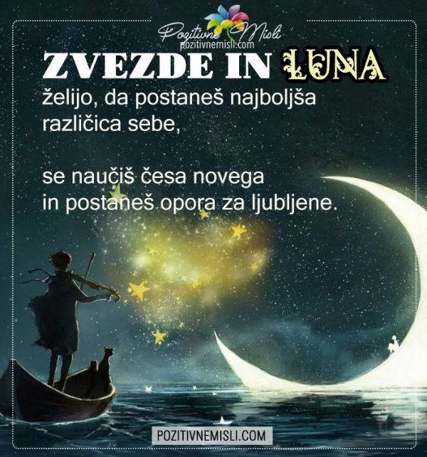 Zvezde in lune želijo - lepe misli za lahko noč