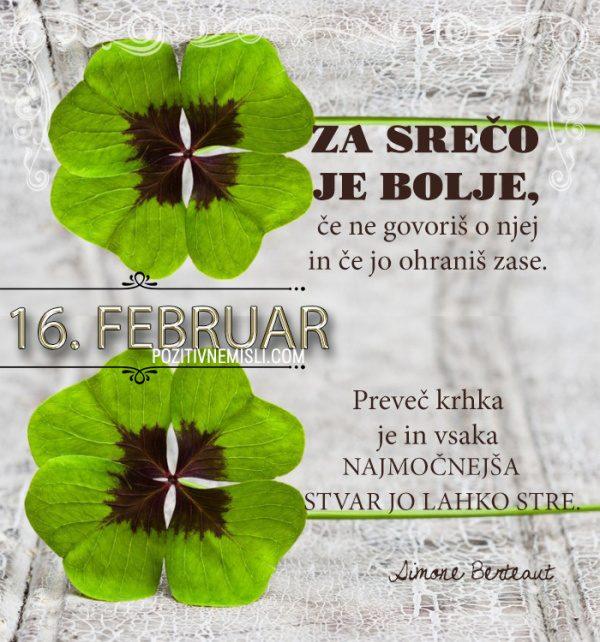 16. februar - 365 misli koledar lepih misli o življenju