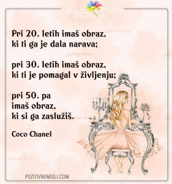 Pri 20. letih imaš obraz - Coco Chanel citati