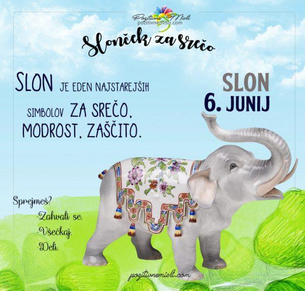 6. junij - 365 srečnih dni - slon za srečo