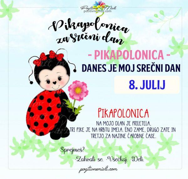 8. julij - 365 srečnih dni - pikapolonica za srečo