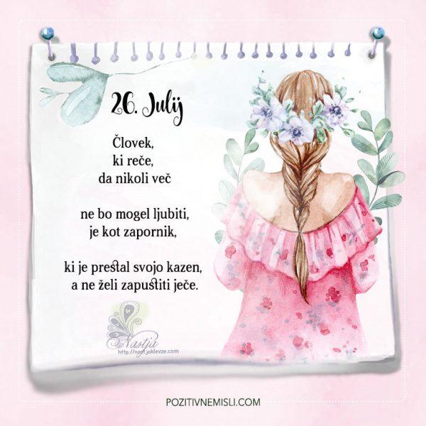 26. julij - Pozitivčice - Misel dneva - Nastja Klevže