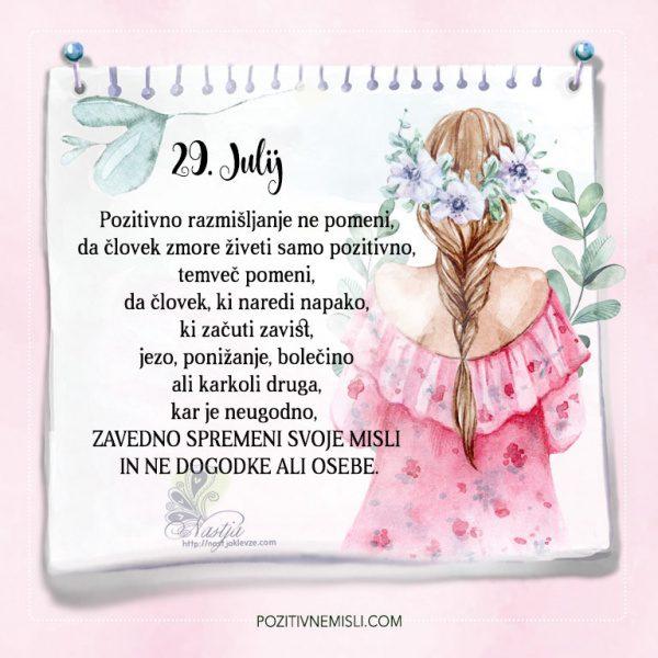 29. julij - Pozitivčice - Misel dneva - Nastja Klevže