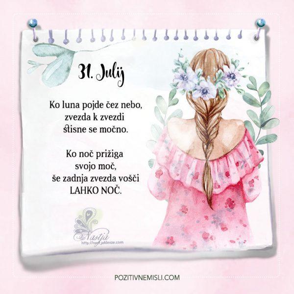 31. julij - Pozitivčice - Misel dneva - Nastja Klevže