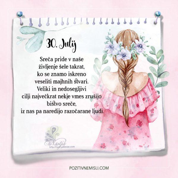 30. julij - Pozitivčice - Misel dneva