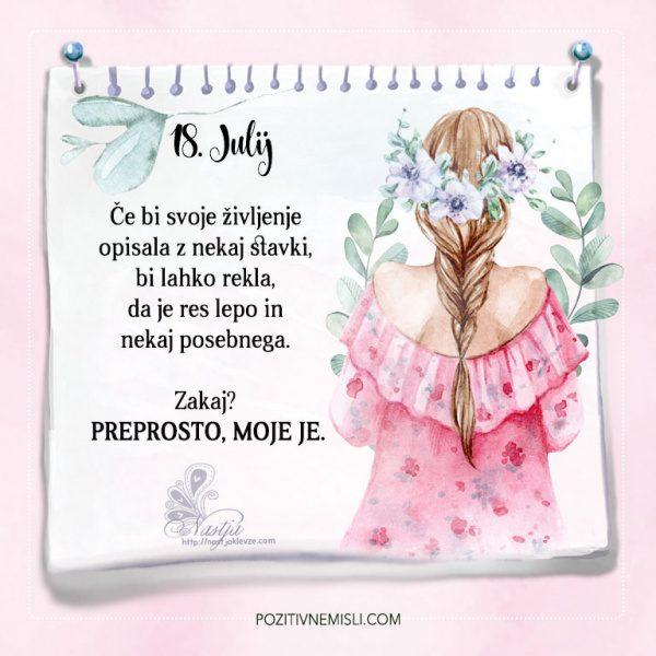 18. julij - Pozitivčice - Misel dneva