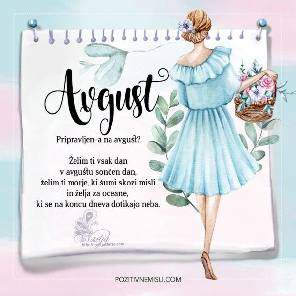 Koledar lepih misli za mesec Avgust