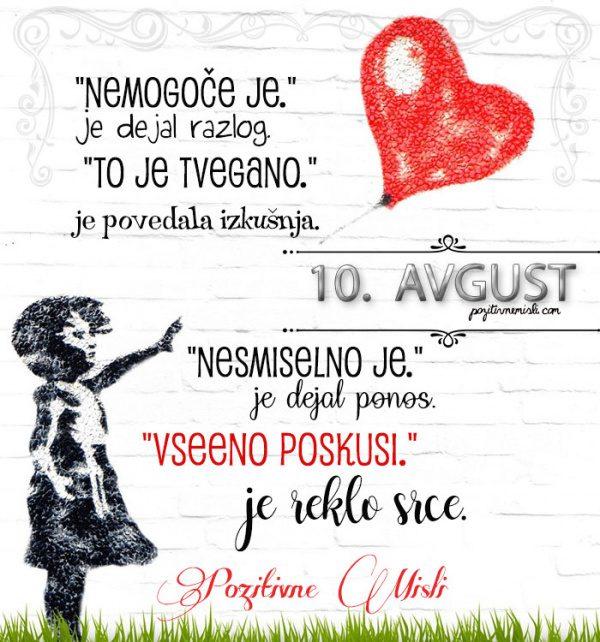 10. avgust - 365 misli koledar lepih misli o življenju