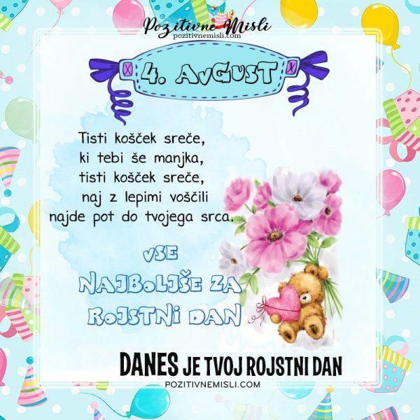 4. avgust - voščilo za rojstni dan - Pozitivčice
