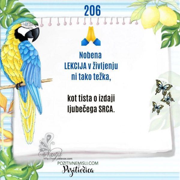 206 POZITIVČICA  - Nobena  LEKCIJA v življenju