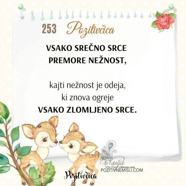 253 POZITIVČICA  - Vsako SREČNO srce  premore NEŽNOST