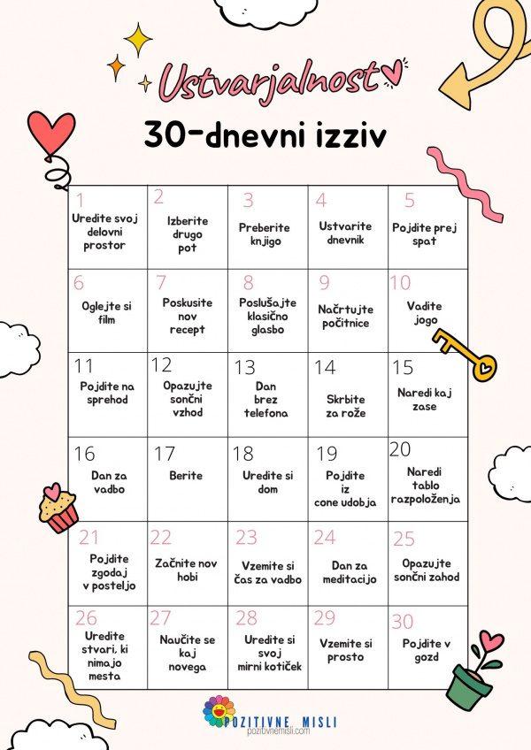 30-dnevni izziv - pozitivne misli. Ustvarjalnost ➡️ motivacija ➡️ cilj