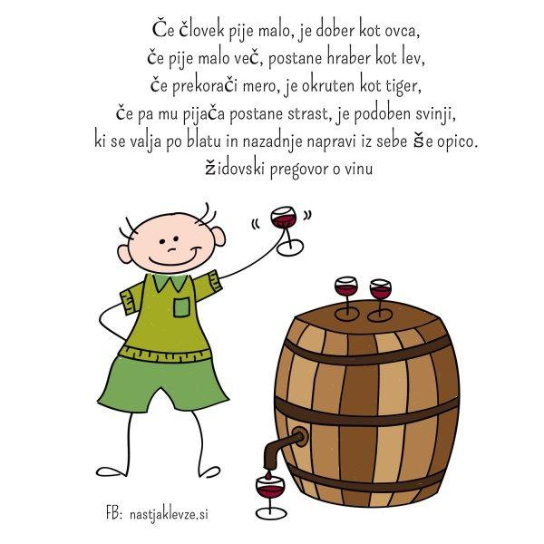 Če človek pije malo - pregovor o vinu