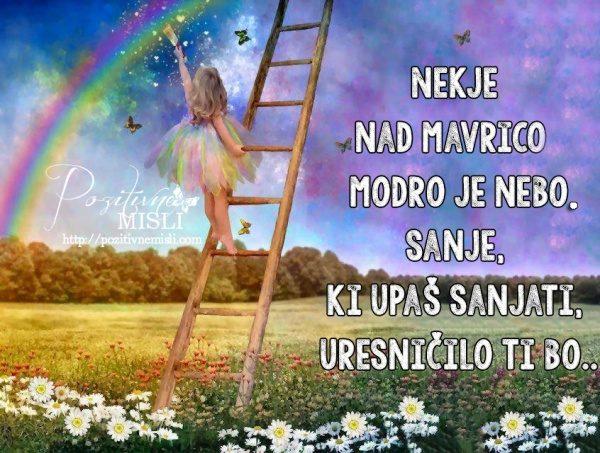 Nekje  nad mavrico, modro je nebo Sanje,  ki upaš sanjati
