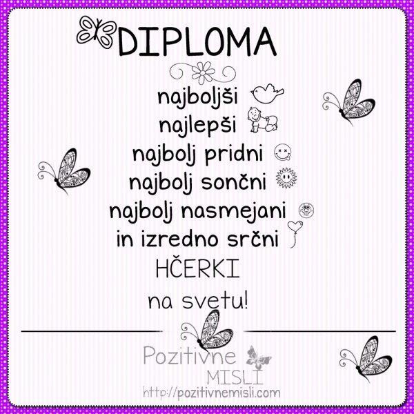 Diploma najboljši HČERKI