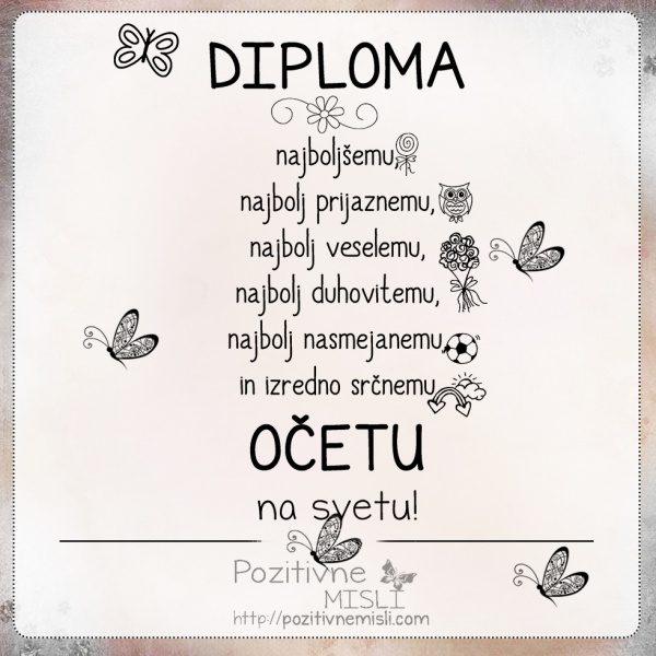 Diploma najboljšemu OČETU
