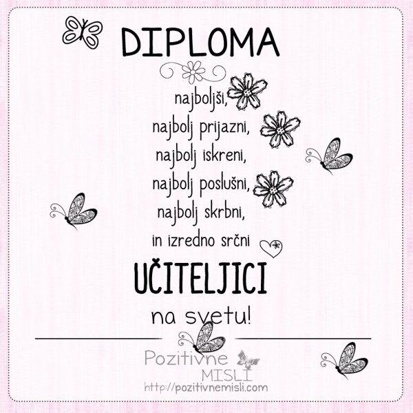 Diploma najboljši UČITELJICI