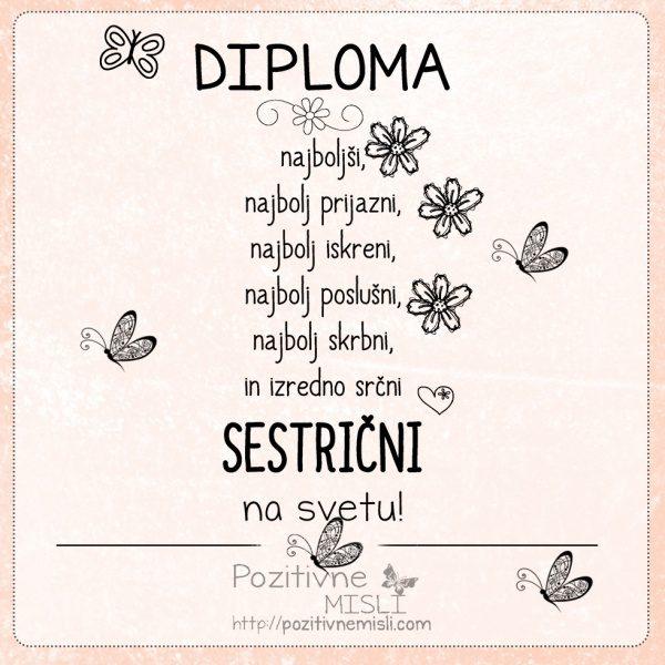 Diploma najboljši SESTRIČNI