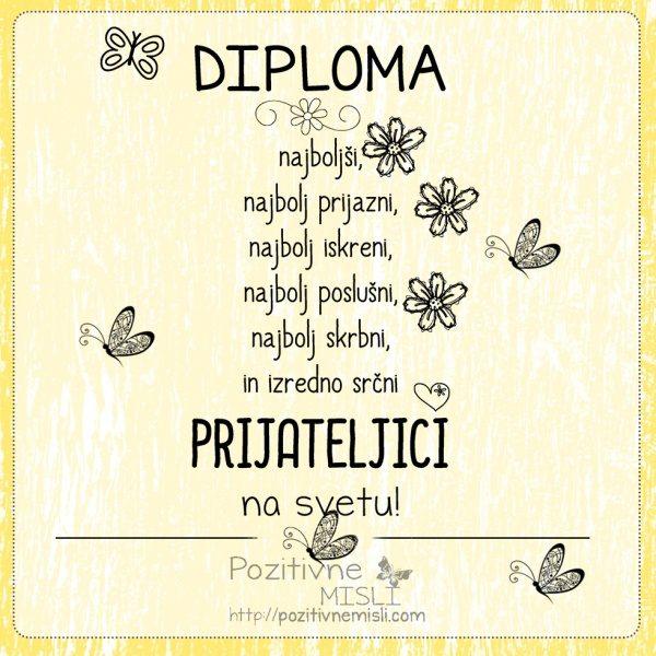 Diploma najboljši PRIJATELJICI