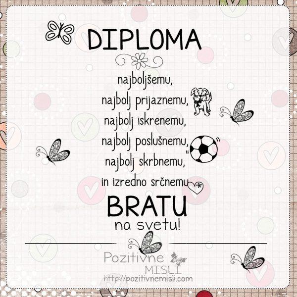 Diploma najboljšemu BRATU