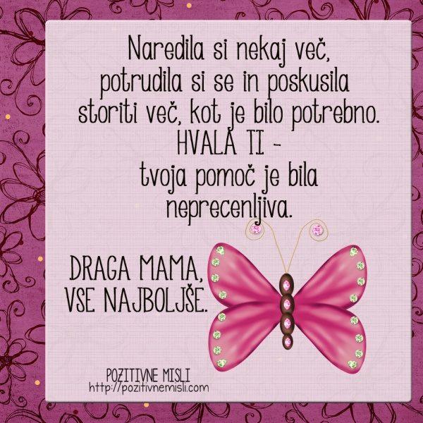 DRAGA MAMA, vse najboljše. rojstni dan voščila čestitka verzi mama citati misli