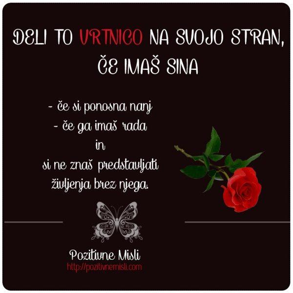 Deli to vrtnico na svojo stran, če imaš sina