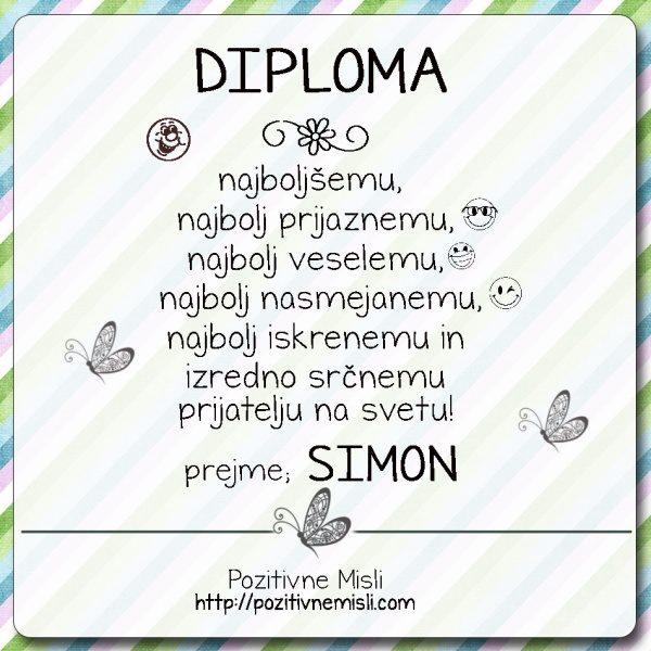 Diploma - prijatelj Simon