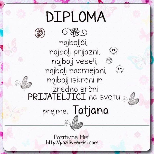 Diploma prijateljica Tatjana