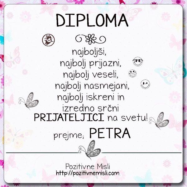 Diploma prijateljica PETRA