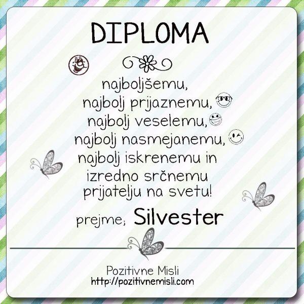 Diploma najboljšemu prijatelju - SILVESTER