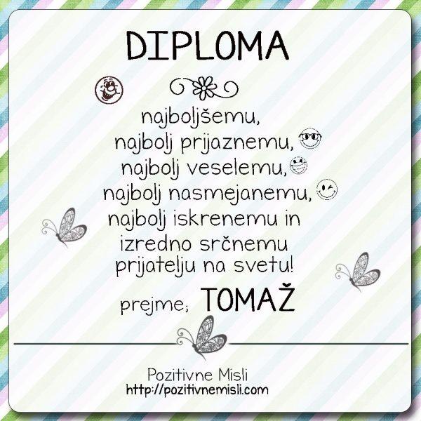 Diploma pohvala rojstnidan tomaž 1