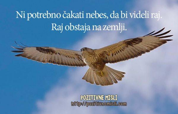 Ni potrebno čakati nebes, da bi videli raj. Raj obstaja na zemlji