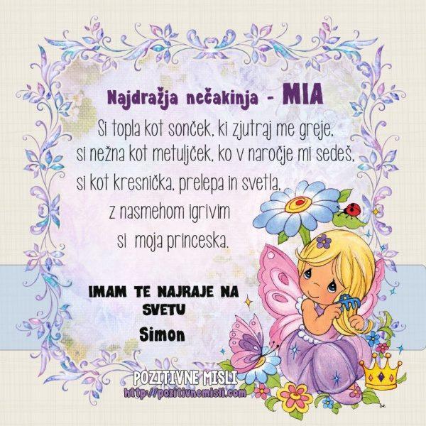 Mia - voščilnica za rojstni dan z imenom