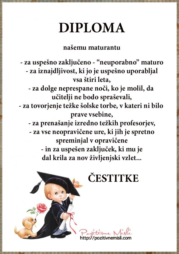 Diploma za uspešno opravljeno Maturo