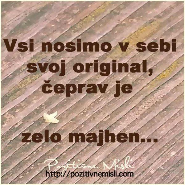 Vsi nosimo v sebi svoj original, čeprav je zelo majhen ...