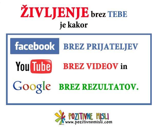 Življenje: FACEBOOK, YouTube, Google