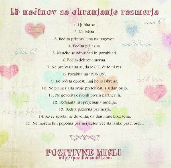 15 načinov za ohranjanje Razmerja