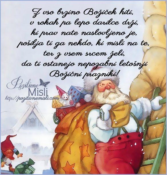 Z vso brzino Božiček hiti, v rokah pa lepo darilce